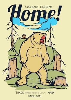 Ilustração de urso bravo e rugindo na selva
