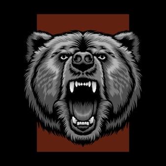 Ilustração de urso-cabeça com raiva