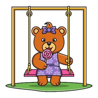 Ilustração de urso dos desenhos animados, comendo um pirulito