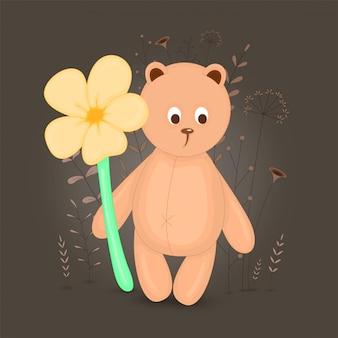 Ilustração de urso dos desenhos animados. floral decorativo com ramos e plantas.