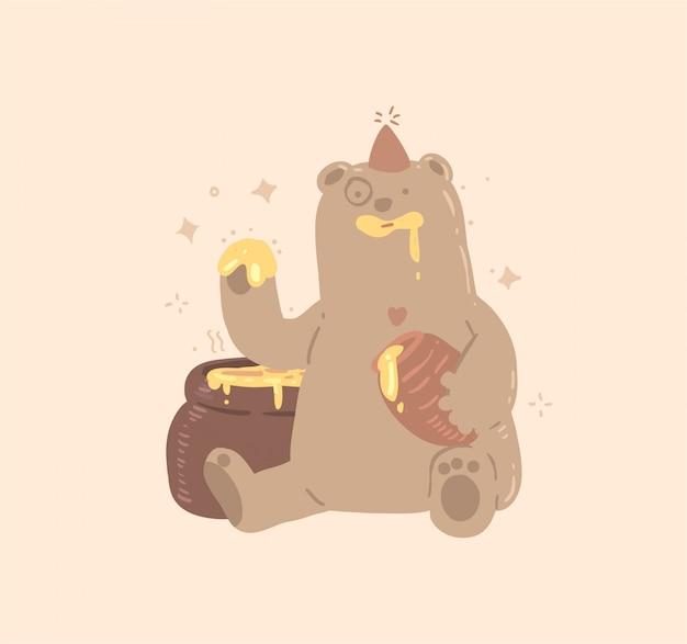 Ilustração de urso e mel