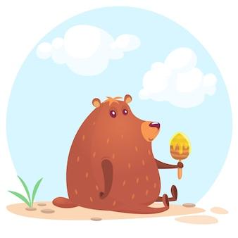 Ilustração de urso engraçado dos desenhos animados