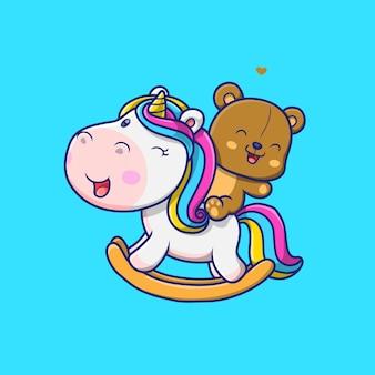 Ilustração de urso fofo brincando com unicórnios