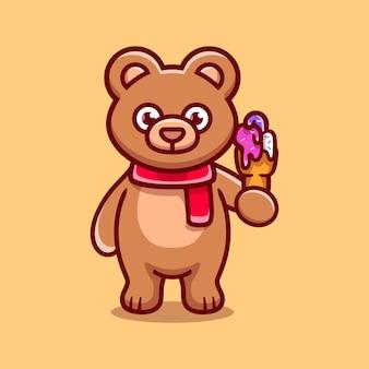 Ilustração de urso fofo comendo sorvete