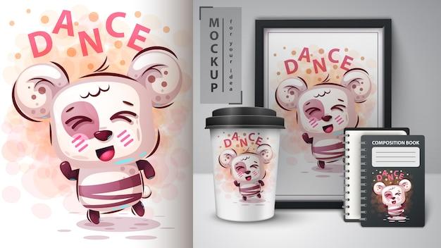 Ilustração de urso fofo de dança e merchandising