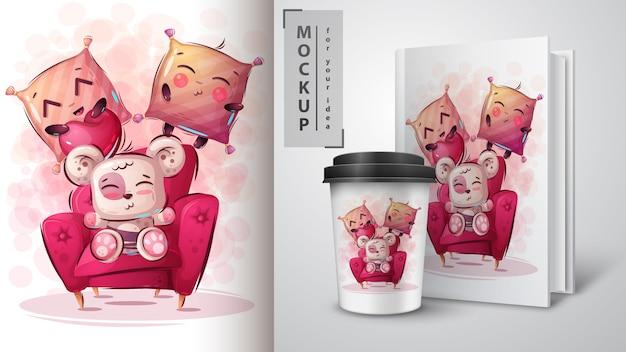 Ilustração de urso fofo e merchandising