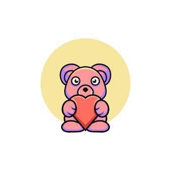 Ilustração de urso fofo estilo desenho animado