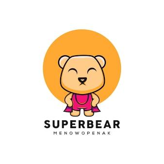 Ilustração de urso herói fofo estilo desenho animado