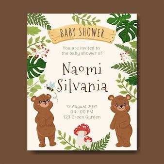 Ilustração de urso para livro de modelo de cartão de chá de bebê floresta florestal