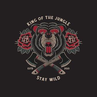 Ilustração de urso selvagem rugindo e machados cruzados com o estilo tradicional de tatuagem