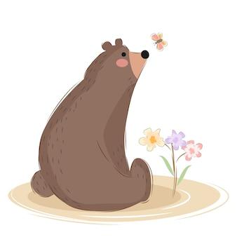 Ilustração de urso simples bonito e engraçado