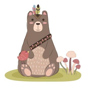 Ilustração de urso tribal fofo