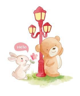 Ilustração de ursos e coelhinho amigo
