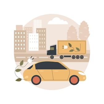 Ilustração de uso de veículo elétrico