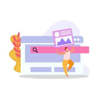 Ilustração de usuário de computador plana com janelas de programa e caráter humano