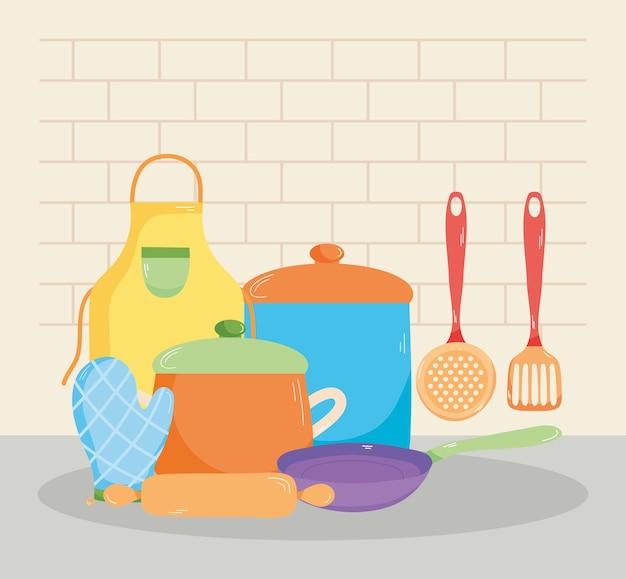 Ilustração de utensílios de cozinha e cozinha