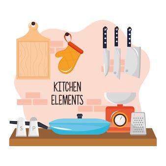 Ilustração de utensílios de cozinha em mesa de madeira e talheres