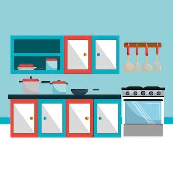 Ilustração de utensílios de cozinha