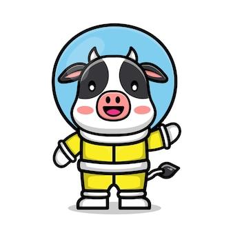 Ilustração de vaca fofa vestindo terno de astronauta