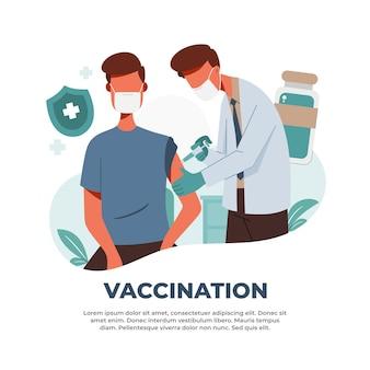 Ilustração de vacinações para combater a pandemia do vírus corona