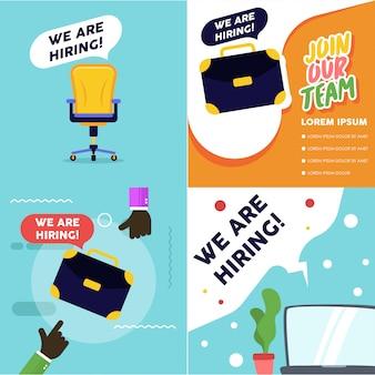 Ilustração de vaga de emprego. estamos contratando um banner de vagas. processo de recrutamento