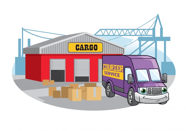 Ilustração de van de carga no porto