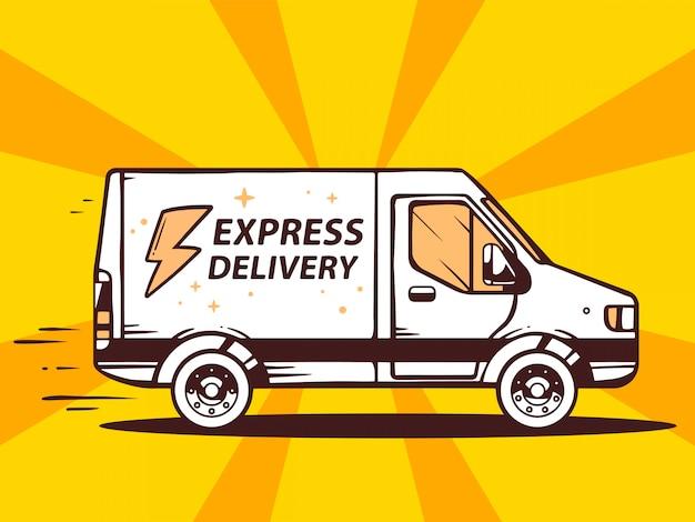 Ilustração de van entrega rápida e expressa gratuita ao cliente em fundo amarelo.