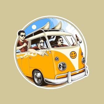 Ilustração de van férias