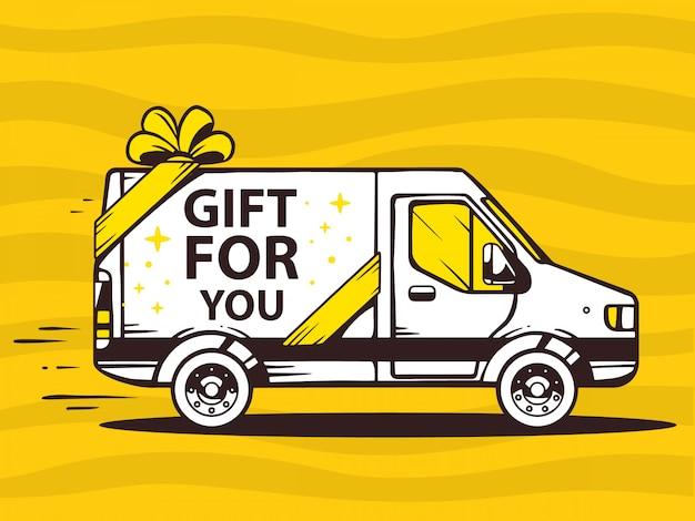 Ilustração de van grátis e rápido entregando presente ao cliente em fundo amarelo.