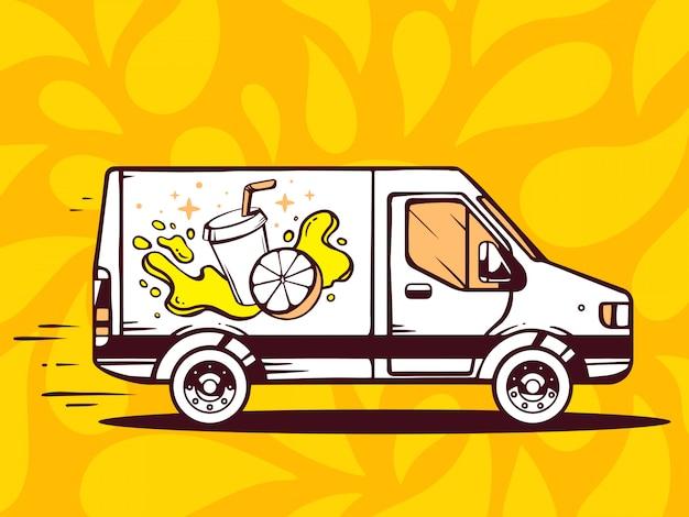 Ilustração de van grátis e rápido entregando suco de frutas frescas ao cliente no fundo amarelo.