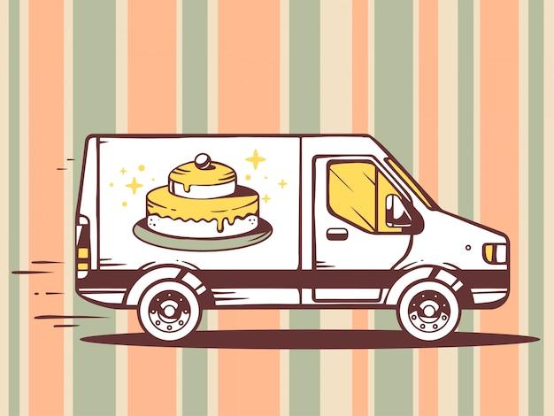 Ilustração de van livre e rápido entregando bolo ao cliente no plano de fundo padrão.
