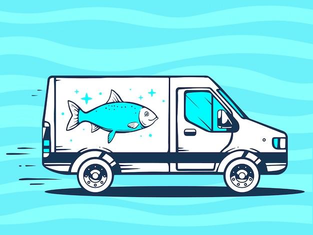 Ilustração de van livre e rápido entregando peixe ao cliente sobre fundo azul.
