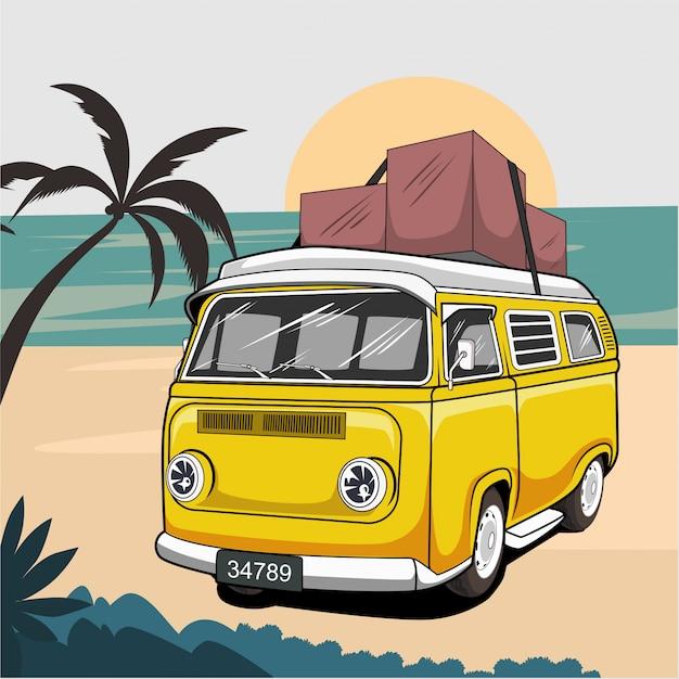Ilustração de van verão surf