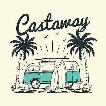 Ilustração de van vintage na praia