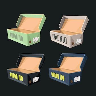 Ilustração de várias caixas de sapatos abertas isoladas em fundo escuro