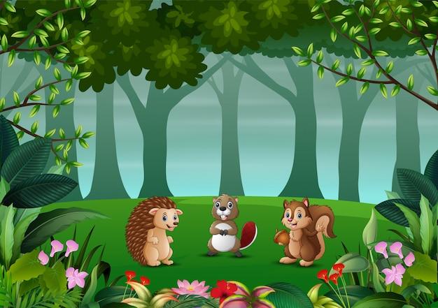 Ilustração de vários animais na floresta escura