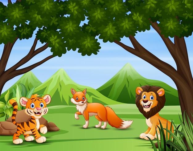 Ilustração de vários animais na floresta