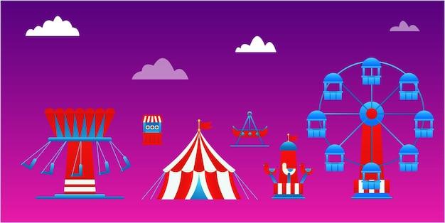 Ilustração de vários jogos no parque de diversões