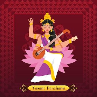Ilustração de vasant panchami com a deusa saraswati