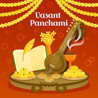 Ilustração de vasant panchami com veena e comida