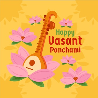 Ilustração de vasant panchami com veena