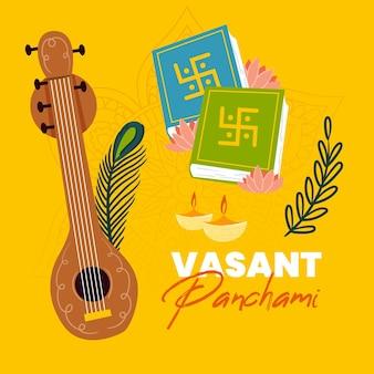 Ilustração de vasant panchami desenhada à mão com veena e livros