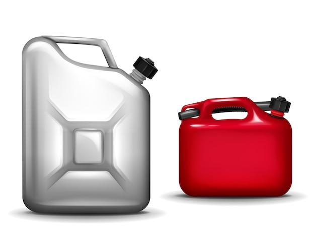 Ilustração de vasilha de gasolina de plástico realista 3d e recipiente de metal de alumínio para carro