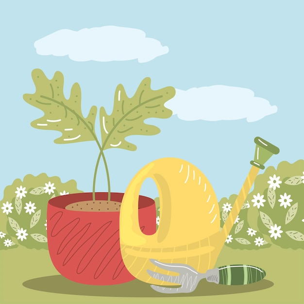 Ilustração de vaso de planta e regador com ancinho de jardim doméstico