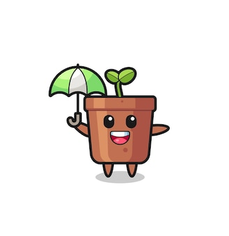 Ilustração de vaso de planta fofa segurando um guarda-chuva, design de estilo fofo para camiseta, adesivo, elemento de logotipo