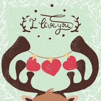 Ilustração de veado. amor e coração.
