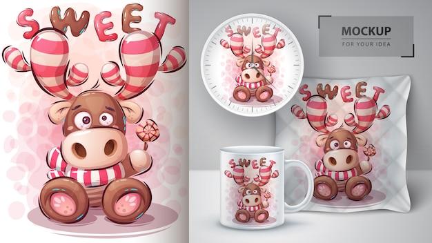 Ilustração de veado doce e merchandising.