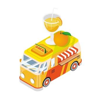 Ilustração de veículo de caminhão de alimentos isométricos de sumo de frutas