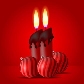 Ilustração de velas e bolas vermelhas de natal