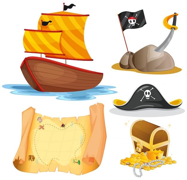 Ilustração de veleiros e outros elementos piratas